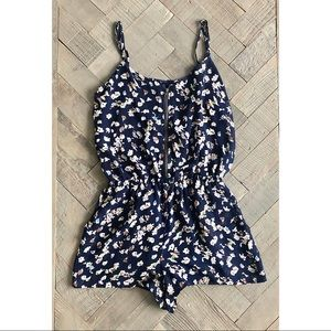 Lucca Couture UO Navy Floral Zipper Romper